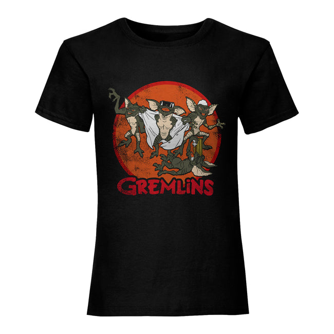 Black - Front - Gremlins Womens-Ladies Retro Group T-Shirt