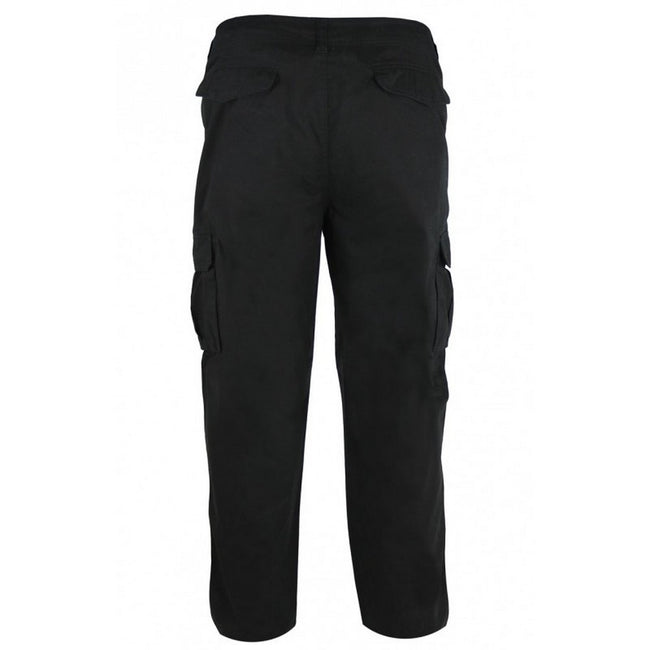 Black - Back - Duke Mens Robert-D555 Peached And Washed Cotton Cargo Pants