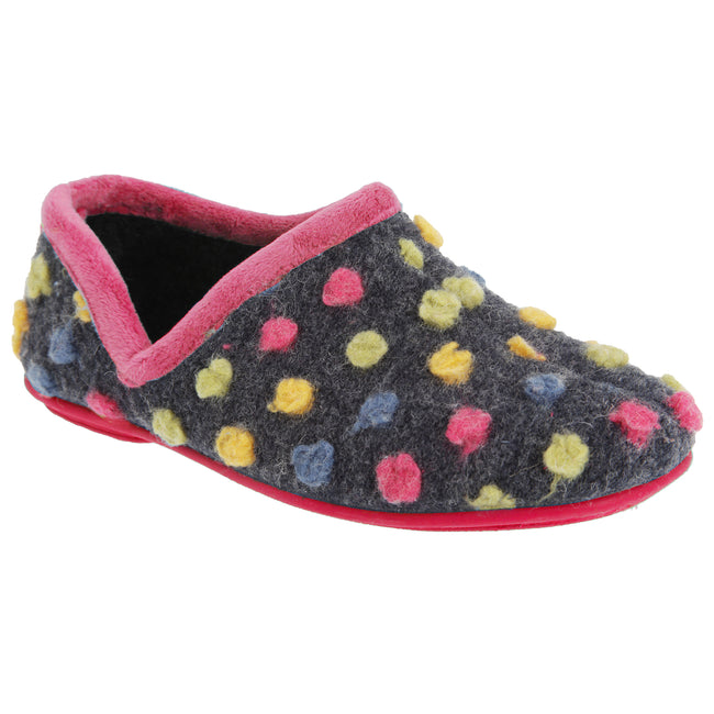 Fuchsia-Multi - Front - Sleepers Womens-Ladies Jade Dotted Full Slippers