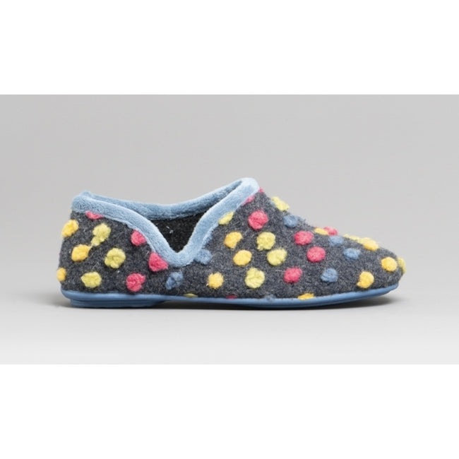 Light Blue-Multi - Back - Sleepers Womens-Ladies Jade Dotted Full Slippers