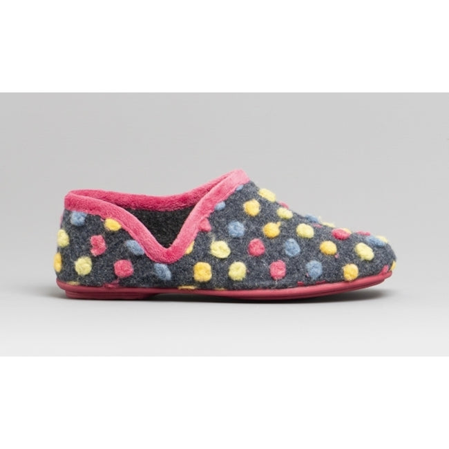 Fuchsia-Multi - Back - Sleepers Womens-Ladies Jade Dotted Full Slippers