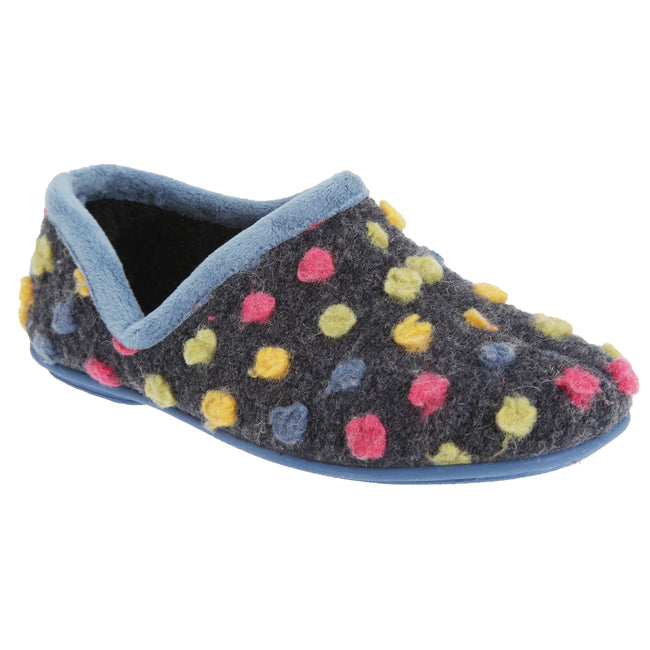 Light Blue-Multi - Front - Sleepers Womens-Ladies Jade Dotted Full Slippers