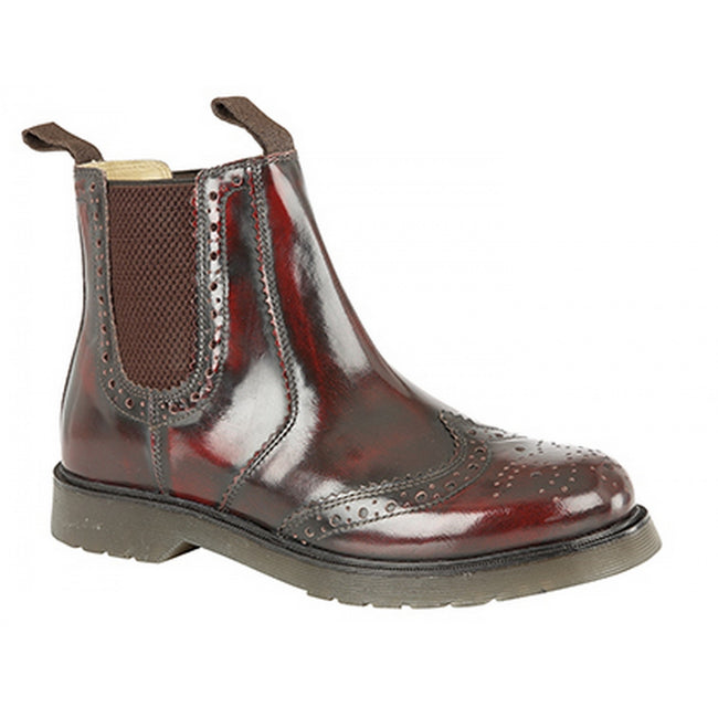 Oxblood - Front - Grafters Mens Hi-Shine Leather Brogue Gusset Dealer Boots