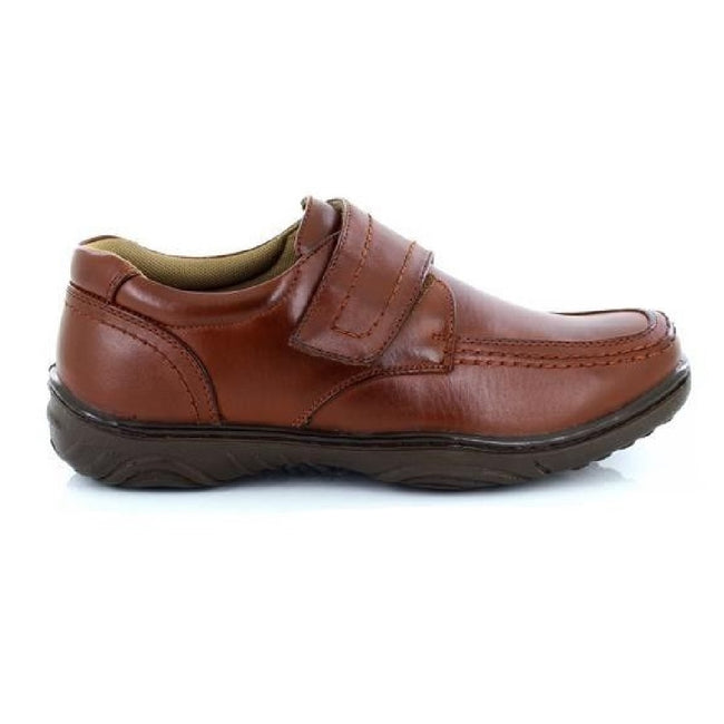 Tan - Back - Smart Uns Mens Touch Fastening Casual Shoes