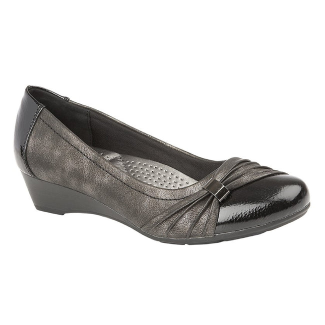 Black Patent-Pewter - Front - Boulevard Womens-Ladies Comfort Padded Court Shoe
