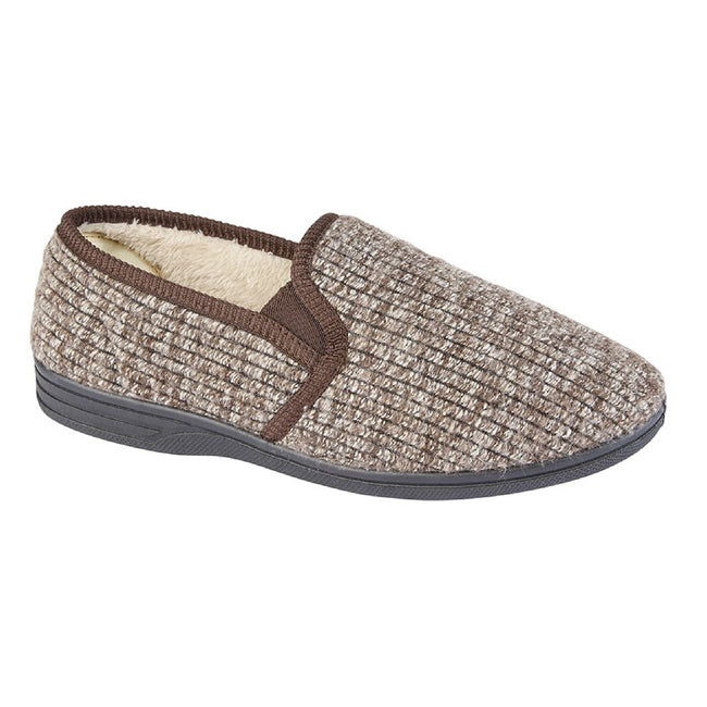 Brown - Front - Zedzzz Mens Keith Fluffy Classic Slippers