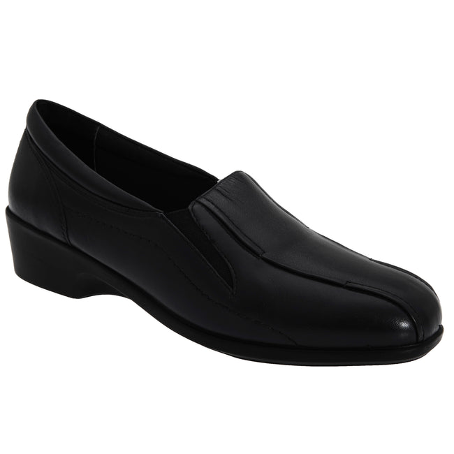 Black - Front - Mod Comfys Womens-Ladies Flexible Slip-On Twin Gusset Shoes