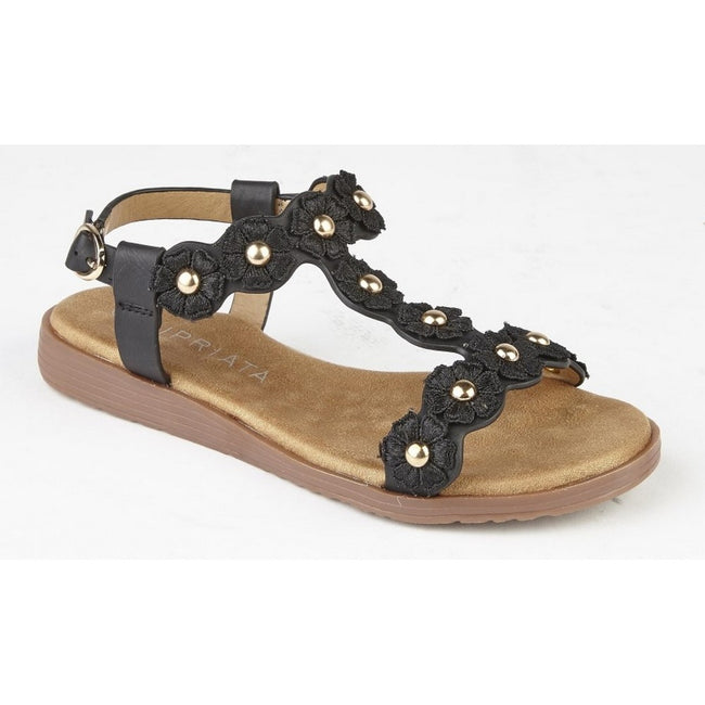 Black - Front - Cipriata Girls Estella Multi Flower Textile Sandals