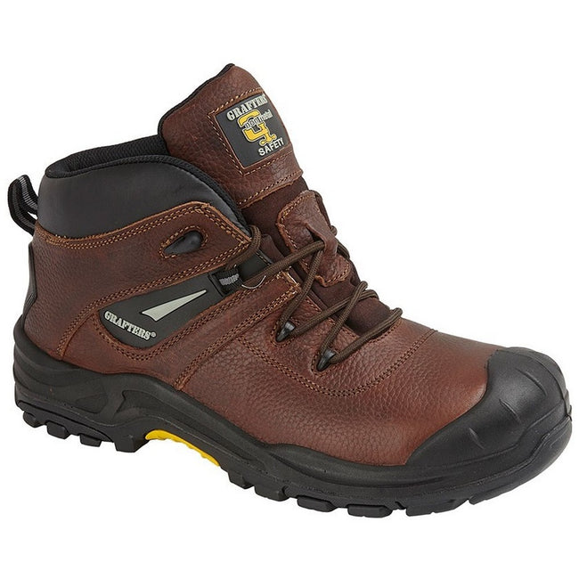 Brown - Front - Grafters Mens Conker Tumbled Leather Laced Safety Boot