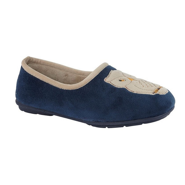 Navy - Front - Sleepers Womens-Ladies Holly Velour Owl Slipper