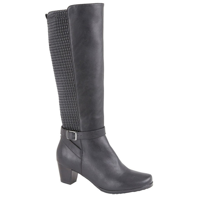 Black - Front - Cipriata Womens-Ladies Elasticated Calf High Leg Boot