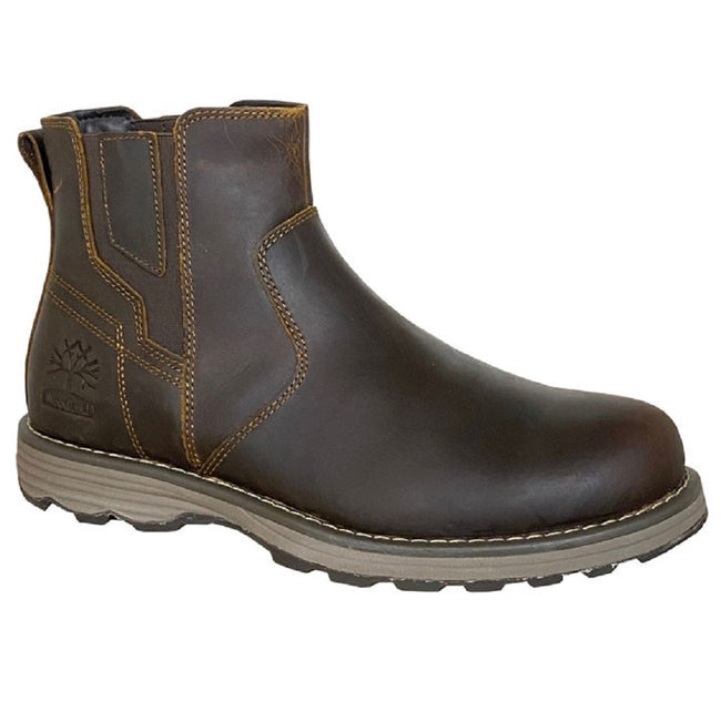 Chocolate Brown - Front - Woodland Mens Leather Gusset Boots