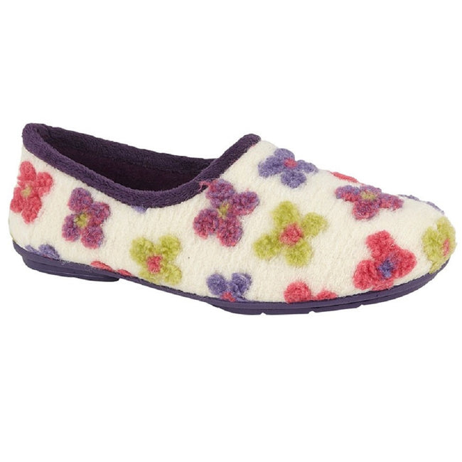Cream-Multicolored - Front - Sleepers Womens-Ladies Gracie Floral Memory Foam Slippers