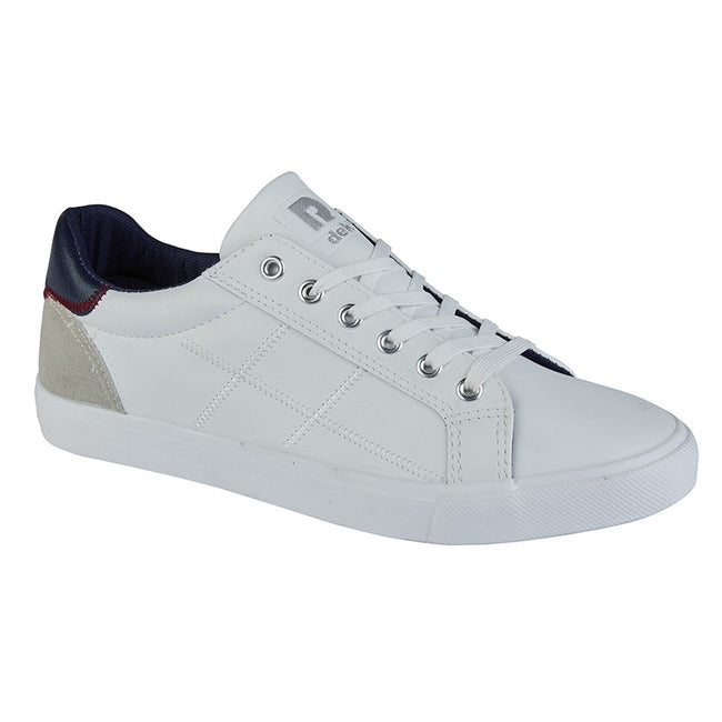 White - Front - Dek Mens Scope 6 Eyelet Lace Up Sneaker