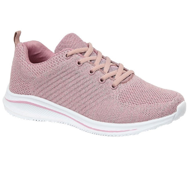 Rose Pink Sparkle - Front - Cipriata Womens-Ladies Leona Lightweight Memory Foam Sneaker