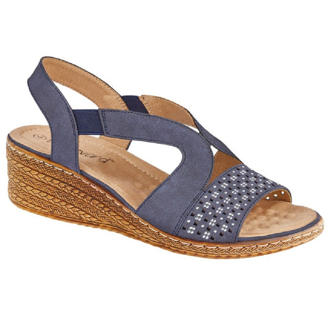 Navy Blue - Front - Boulevard Womens-Ladies Leather Elasticate Wedge Sandal