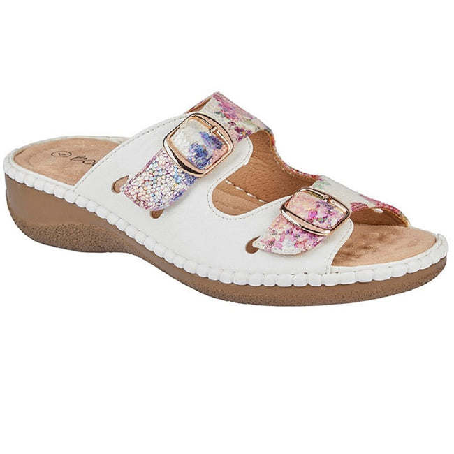 White - Front - Boulevard Womens-Ladies Floral Twin Buckle Mule Sandal