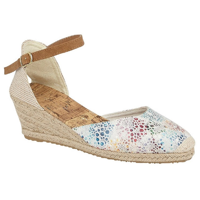 White-Multicolored - Front - Cipriata Womens-Ladies Espadrille Wedge Heel Sandal