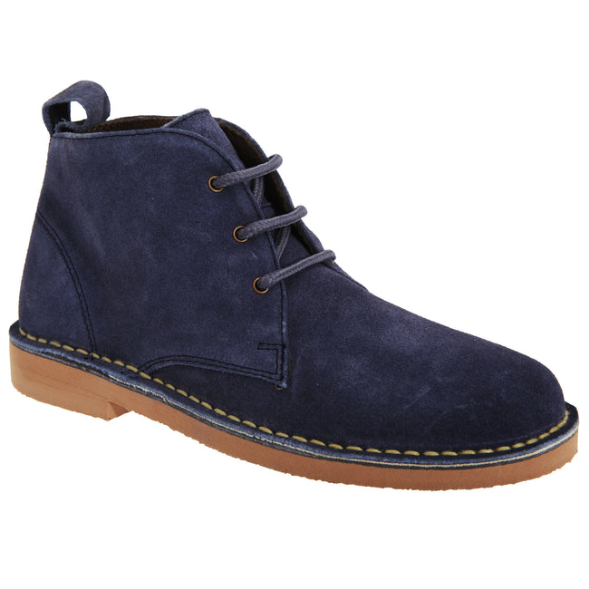 Blue - Front - Roamers Womens-Ladies Real Suede Lightweight Desert Boots