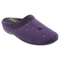 Purple - Front - Sleepers Womens-Ladies Charley Extra Comfort Memory Foam Velour Mule Slippers