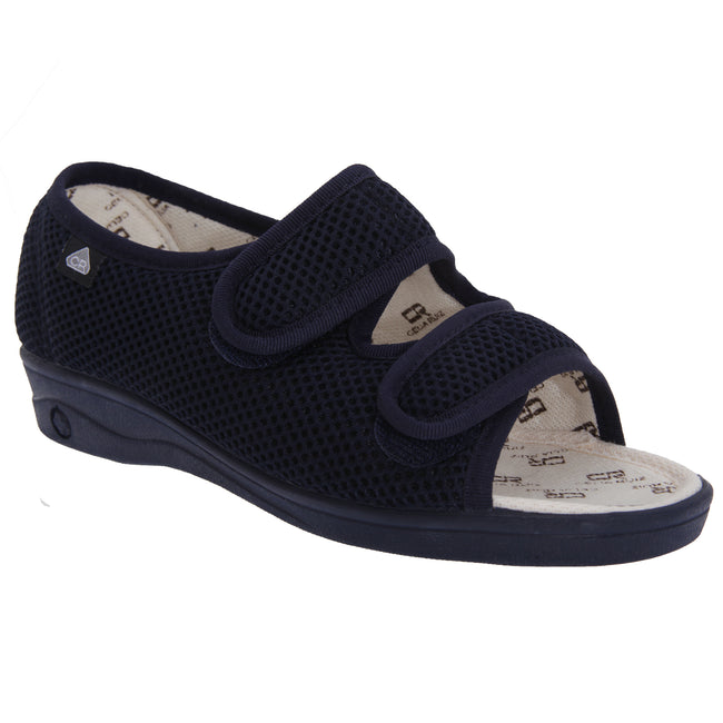 Navy Blue - Front - Celia Ruiz Womens-Ladies Touch Fastening X Wide Dual Fitting Sandals