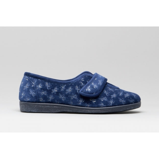 Navy Blue - Back - Sleepers Womens-Ladies Ivy Floral V Throat Touch Fastening Slippers