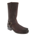 Black - Front - Woodland Mens High Harley Western Harness Leather Boots