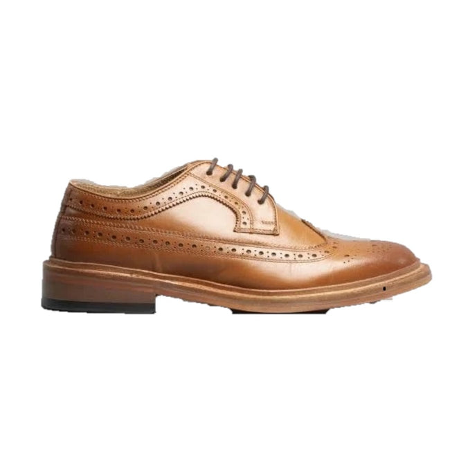 Black - Front - Kensington Classics Mens All Leather American Brogue Gibson Shoes