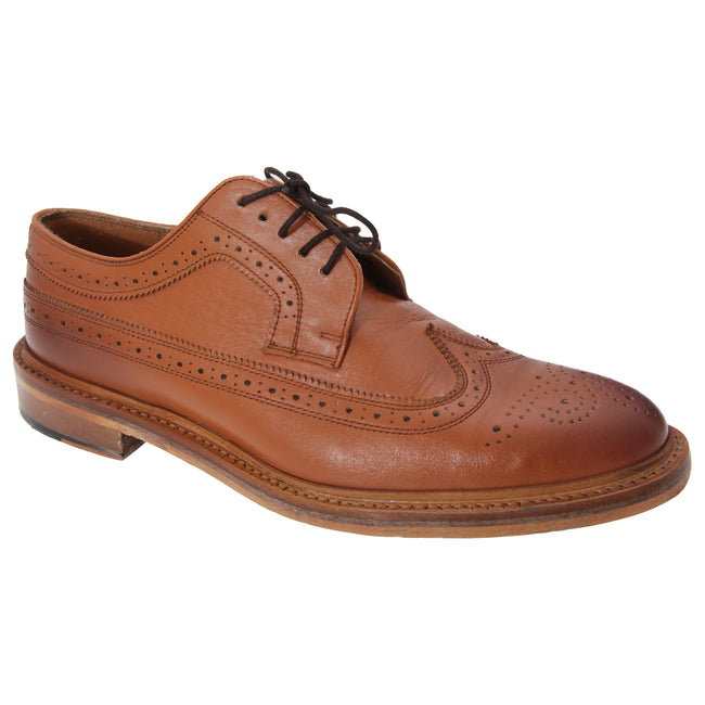 Tan - Front - Kensington Classics Mens All Leather American Brogue Gibson Shoes