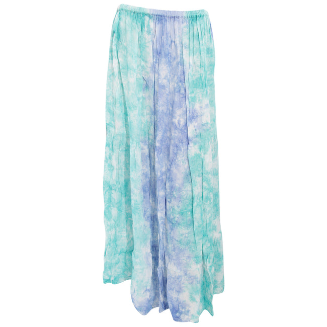 Green - Blue - Front - Womens-Ladies Maxi Pastel Tie Dye Summer Skirt