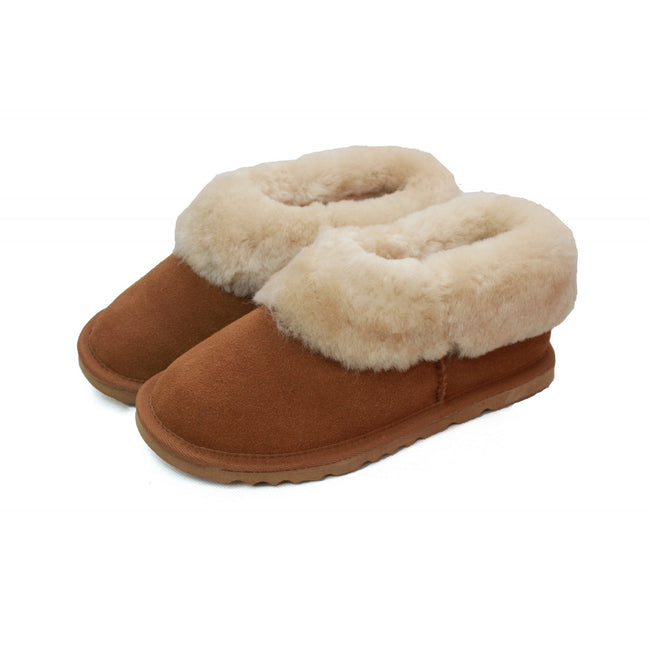 Chestnut - Back - Eastern Counties Leather Womens-Ladies Sheepskin Lined Slipper Boots