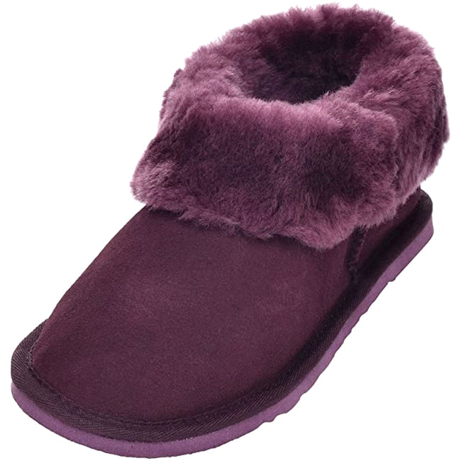 Plum - Front - Eastern Counties Leather Womens-Ladies Sheepskin Lined Slipper Boots