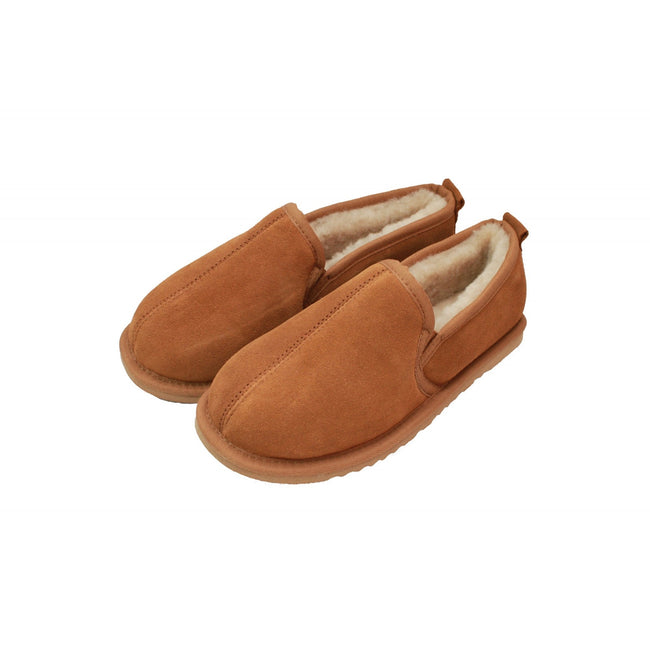 Chestnut - Back - Eastern Counties Leather Mens Sheepskin Lined Hard Sole Slippers