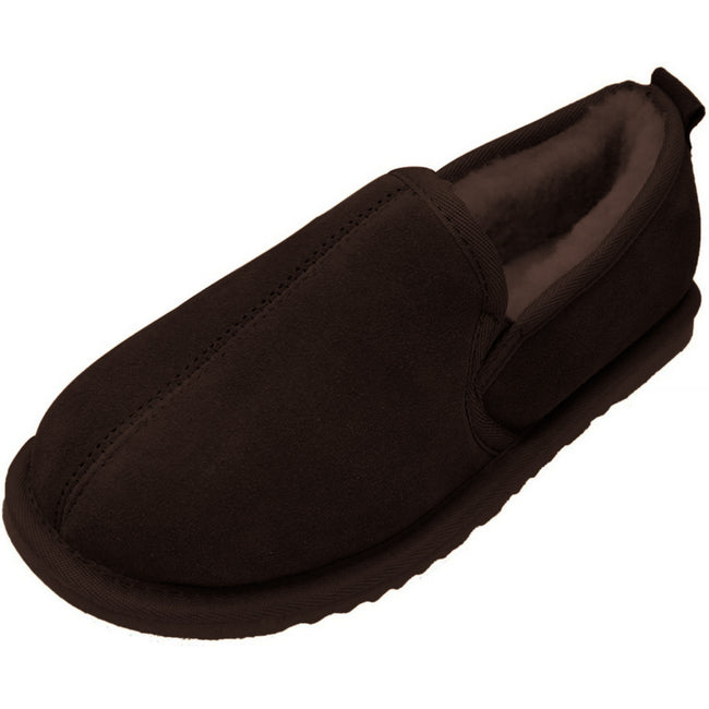 Chocolate - Front - Eastern Counties Leather Mens Sheepskin Lined Hard Sole Slippers