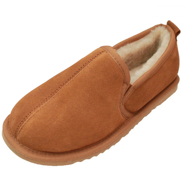 Chestnut - Front - Eastern Counties Leather Mens Sheepskin Lined Hard Sole Slippers