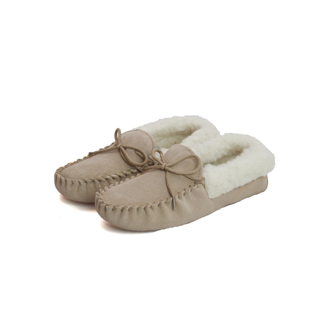 Camel - Back - Eastern Counties Leather Womens-Ladies Soft Sole Wool Lined Moccasins