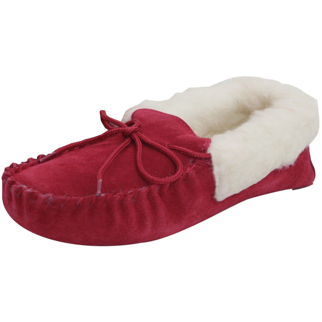 Crimson - Front - Eastern Counties Leather Womens-Ladies Soft Sole Wool Lined Moccasins