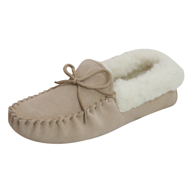 Camel - Front - Eastern Counties Leather Womens-Ladies Soft Sole Wool Lined Moccasins