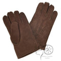 Coffee - Front - Eastern Counties Leather Mens 3 Point Stitch Sheepskin Gloves