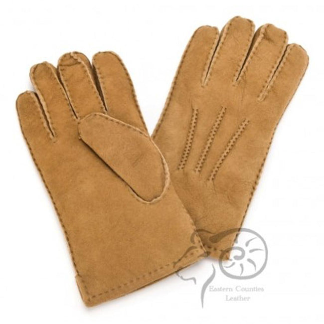 Tan - Front - Eastern Counties Leather Mens 3 Point Stitch Sheepskin Gloves