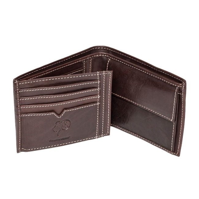 Brown - Back - Eastern Counties Leather Mens Mark Trifold Wallet With Coin Pocket
