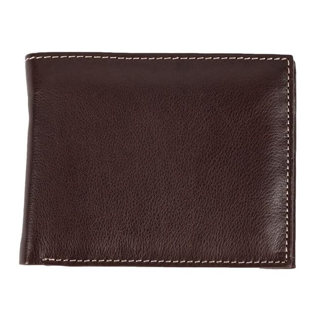Brown - Front - Eastern Counties Leather Mens Mark Trifold Wallet With Coin Pocket