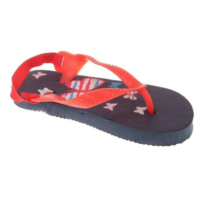 Dark Blue - Front - Sandrocks Childrens-Toddlers Butterfly Flip Flops