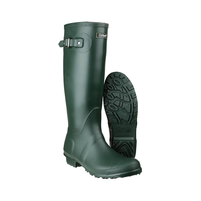 Green - Side - Cotswold Sandringham Buckle-Up Womens Wellington Boots