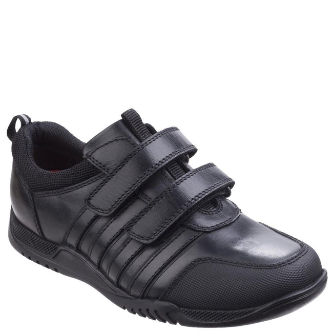 Toughees CHIVERS Boys Leather Dual Touch Fastening Casual School Shoes Black