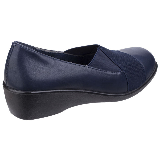 Navy - Back - Fleet & Foster Womens-Ladies Limba Elasticated Wedge Shoes