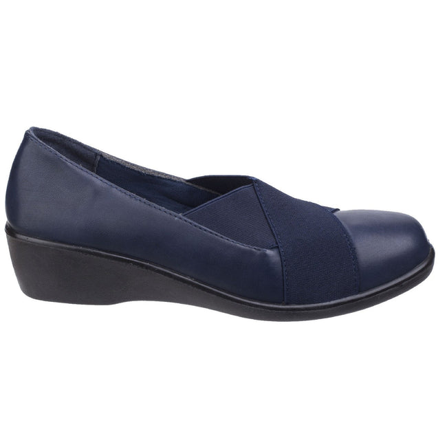 Navy - Pack Shot - Fleet & Foster Womens-Ladies Limba Elasticated Wedge Shoes