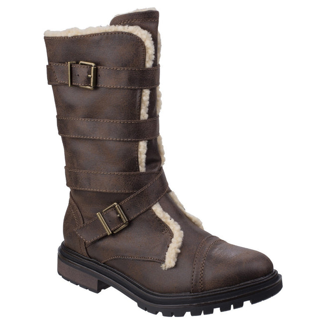 Brown - Front - Rocket Dog Womens-Ladies Lance Buckle Long Boots