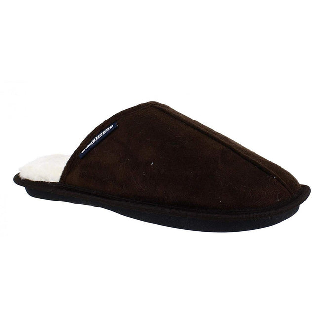 Dark Brown - Front - Lambretta Mens Mule Slipper