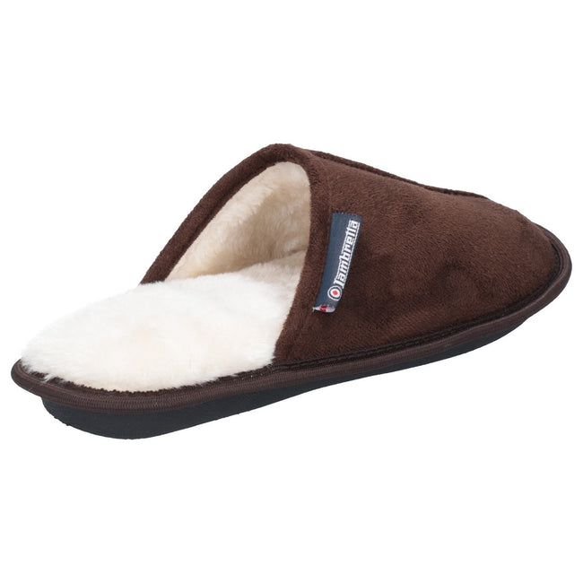 Dark Brown - Back - Lambretta Mens Mule Slipper